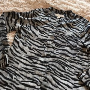 Michael Kors Zebra Print Collarless Blouse Gray
